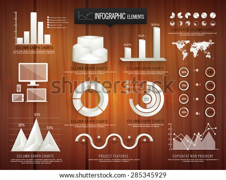 Creative business infographic elements including glossy 3D statistical bars, pie charts, coloumn graphs, digital devices and world map on wooden background. - stock vector