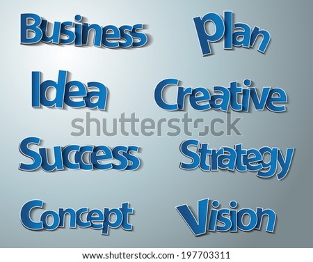 Creative business words set, paper, stickers, labels, tags, Vector illustration modern template design - stock vector