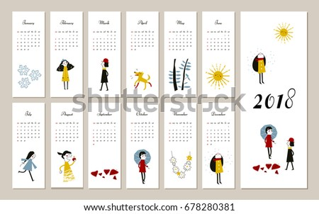Creative calendar 2018, concept, vector editable template. Graphic illustration of people, dog. Vertical