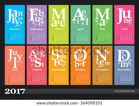 creative calendar 2017 grid numbers weeks stock vector royalty free