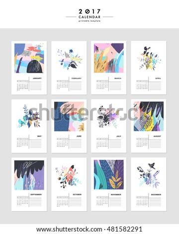 Creative Calendar 2017 Template Leaves Floral Stock Vector 481582291