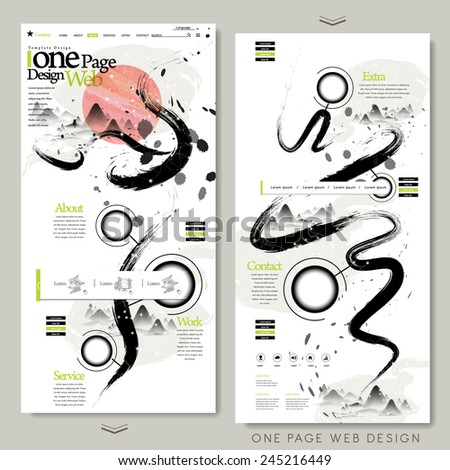 creative calligraphy style one page website design template  - stock vector
