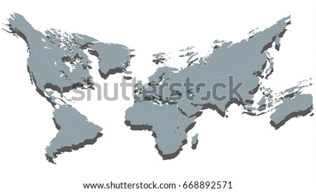 Creative cambered world map isolated on stock vector 668892571 creative cambered world map isolated on white background in grey color vector illustration gumiabroncs Gallery