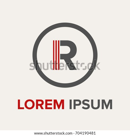 Red Circle With R Logo Strips Letter R...