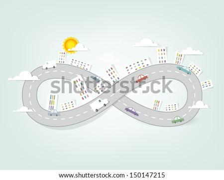 creative cartoon urban landscape - stock vector