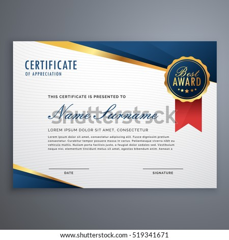 Creative Certificate Appreciation Award Template Blue Stock Vector