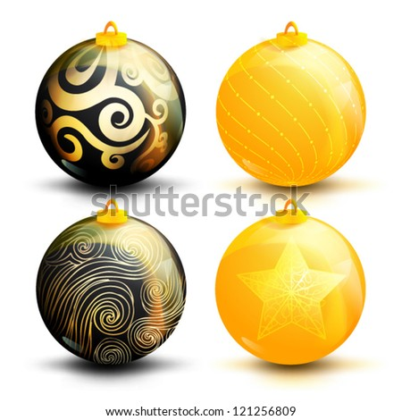 Creative Christmas ball isolated on  background, (vector illustration) - stock vector