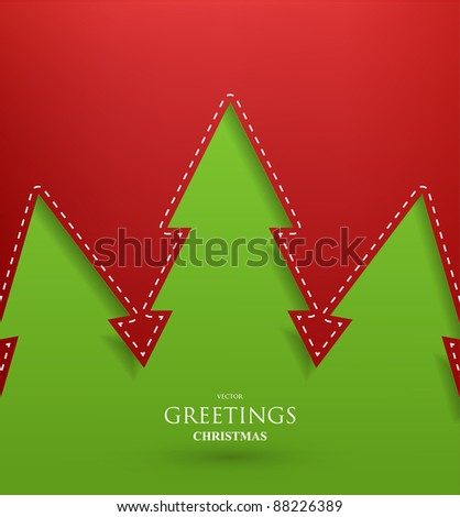 Creative Christmas tree formed from paper. Vector Illustration. - stock vector