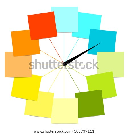 Creative clock design with stickers for your text - stock vector