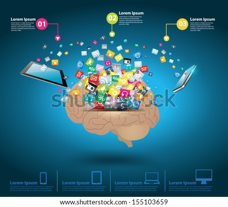 Creative cloud of colorful application icon with brain idea concept, Mobile phones and tablet computer pc connection business software networking service, Vector illustration modern template design - stock vector