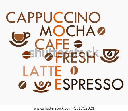 Creative coffee design - crossword. Vector illustration - stock vector