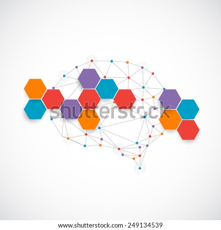 Creative color concept of the human brain - stock vector