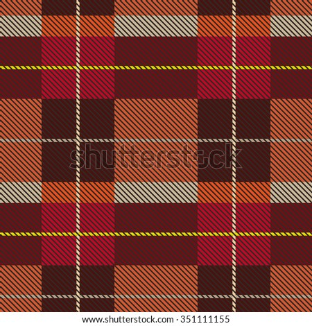 Creative color palette checkered plaid. Seamless pattern with stripes and diagonal hatching. Retro textile collection. Grey, brown, red with beige and yellow stripes. Backgrounds & textures shop. - stock vector