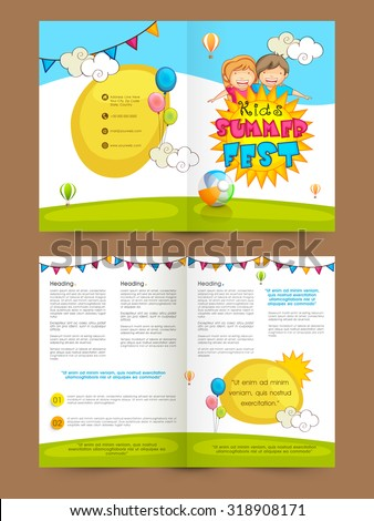 Creative colorful Brochure, Template or Flyer presentation with illustration of cute happy kids for Summer Fest. - stock vector