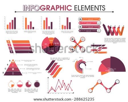 Creative colorful business infographic elements including pie chart, graph, statistical bar etc. - stock vector