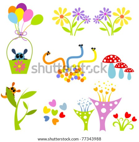 Creative colorful cute elements for design : funny creatures. Vector illustration - stock vector