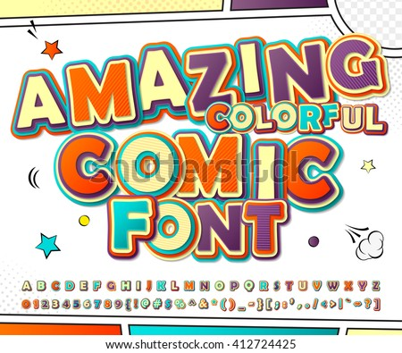 Creative colorful high detail comic font. Alphabet in style of comics, pop art. Multilayer funny letters and figures for decoration of kids' illustrations, websites, posters, comics, banners - stock vector