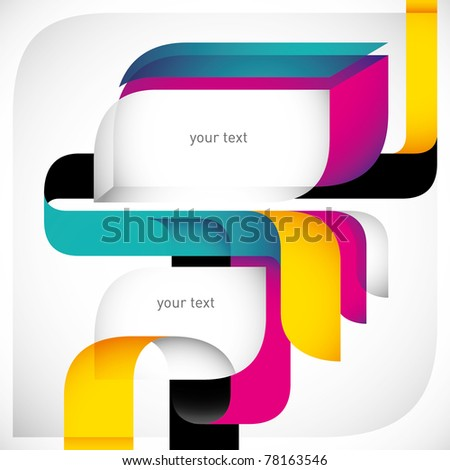 Creative colorful layout with designed shapes. Vector illustration. - stock vector