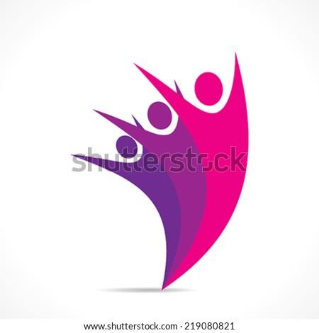 creative colorful people icon design vector - stock vector