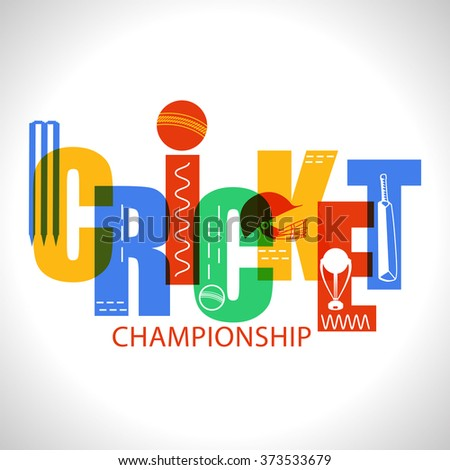 Creative colorful text Cricket with other equipments on shiny grey background. - stock vector