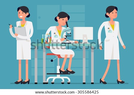 Creative concept design on female scientist character in different poses and situations such as working on research with microscope, walking, holding clipboard - stock vector
