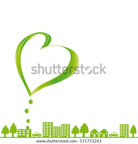 Creative concept ecological fabric and green city - stock vector