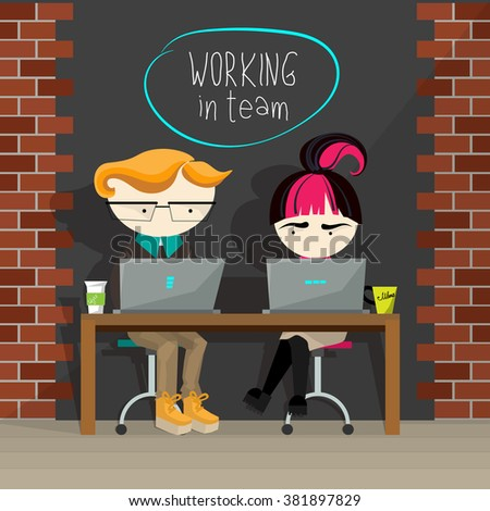 Creative concept illustration of team working. Vector flat design. Young cartoon boy and girl sitting at one table, looking in laptops, having their cups on the table, working together. - stock vector