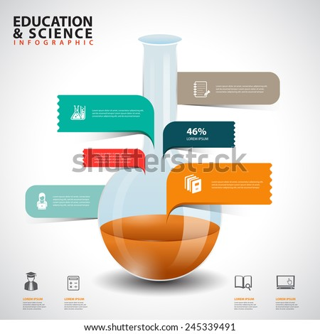 Creative concept infographics test tube glass with speech bubble - stock vector