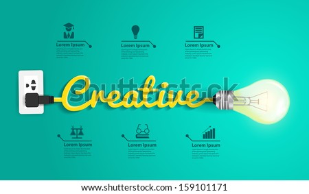 Creative concept modern design template, Light bulb idea abstract infographic workflow layout, diagram, step up options, Vector illustration - stock vector
