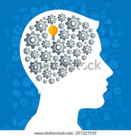 Creative concept of Business Idea Generation. Vector illustration. Man silhouette with Gear icons and Light Bulb symbol in his head. Brainstorming process. Business Processes. - stock vector