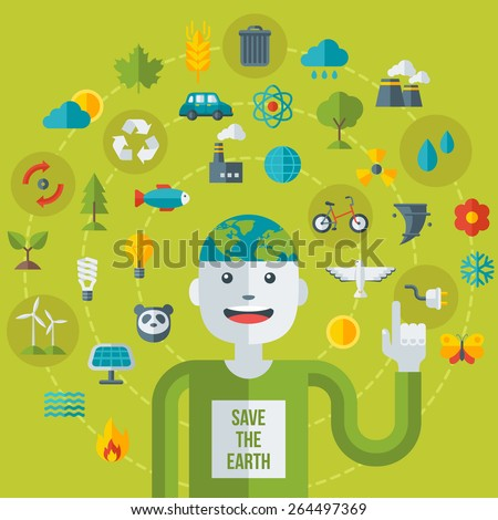 Creative concept of Ecology Science. Vector illustration. Man with Eco icons and symbols. Go green concept. Save world. Save the planet. Save the Earth - stock vector