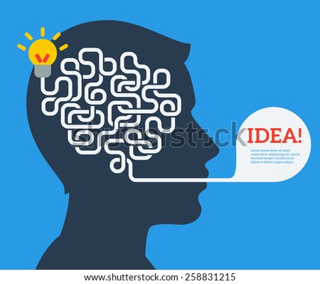 Creative concept of human brain, vector illustration. Flat style. Business Idea Development poster or banner. Man head with abstract brain inside. - stock vector
