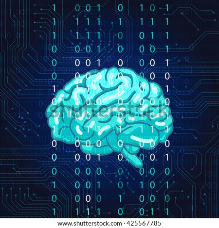 Creative concept of the human brain. Circuit board vector background.