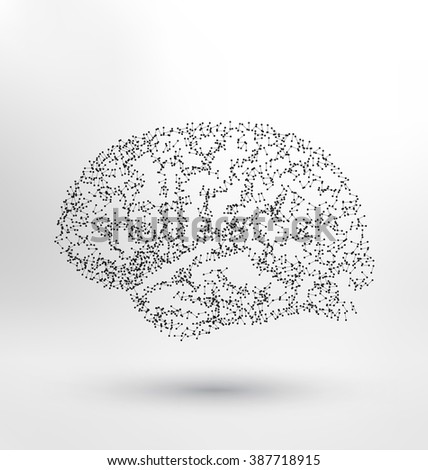 Creative concept of the human brain - molecule based brain illustration - stock vector