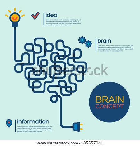 Creative concept of the human brain, vector illustration. - stock vector