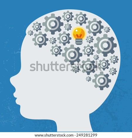 Creative concept of the human brain, vector illustration. Flat style. Business Idea poster or banner. Man head with abstract brain formed with gears. - stock vector