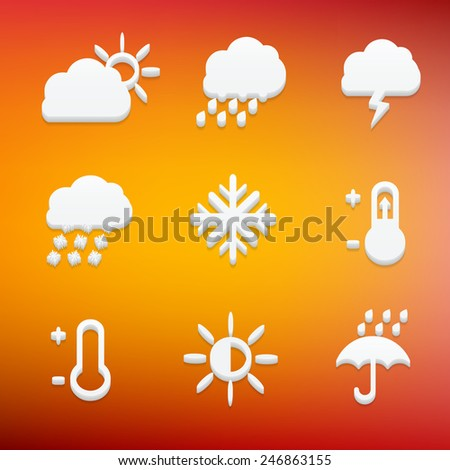 Creative concept vector Flat Icon Set of weather elements for Web and Mobile Applications - Set 7. Vector illustration creative template design, Business software and social media