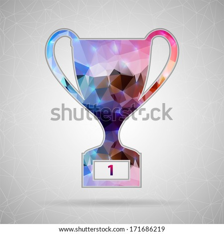 Creative concept vector icon of trophy cup for Web and Mobile Applications isolated on background. Vector illustration creative template design, Business software and social media. - stock vector