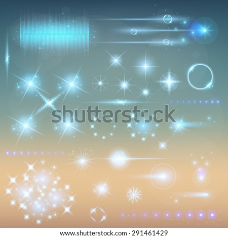 Creative concept Vector set of glow light effect stars bursts with sparkles isolated on black background. For illustration template art design, banner for Christmas celebrate, magic flash energy ray. - stock vector