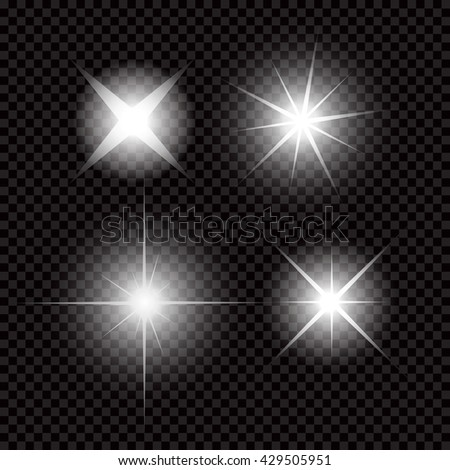 Creative concept Vector set of glow light effect stars bursts with sparkles isolated on black background - stock vector