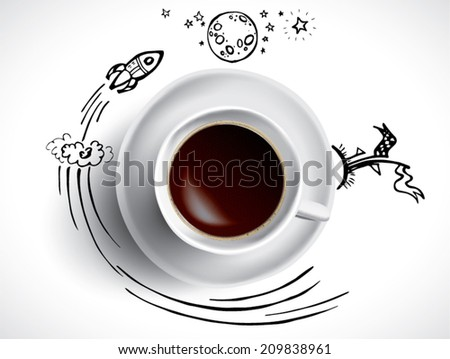 Creative concept with coffee and space doodles - stock vector