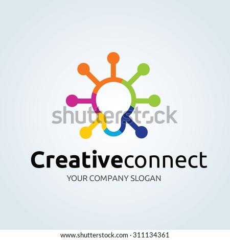 Creative Connect,Idea logo,Education,Learning logo,Vector Logo Template - stock vector