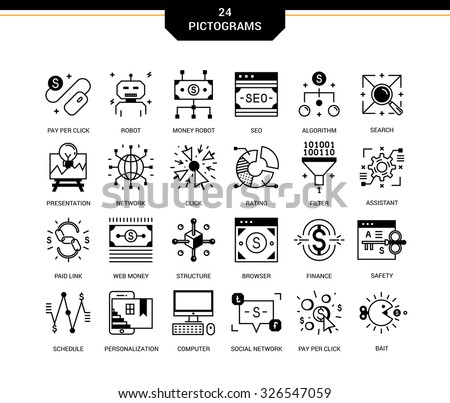 Creative contemporary icon set in a linear style. Pay per click , promotion and monetizing of website, marketing and public relations, network access, search engine optimization, affiliate program. - stock vector