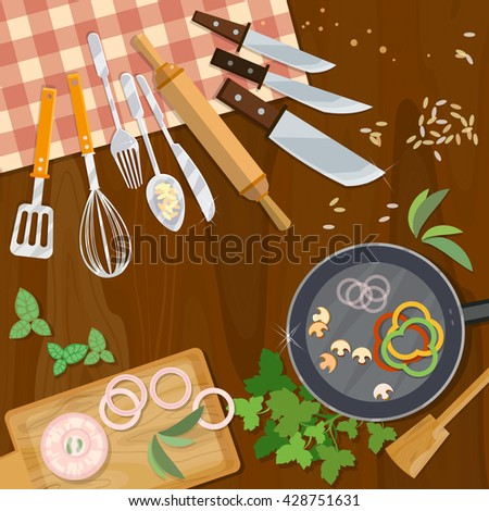 Creative cooking kitchenware top view table cook kitchen table cooking food vector illustration - stock vector