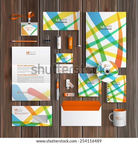 Creative corporate identity template design with color art elements. Business stationery - stock vector