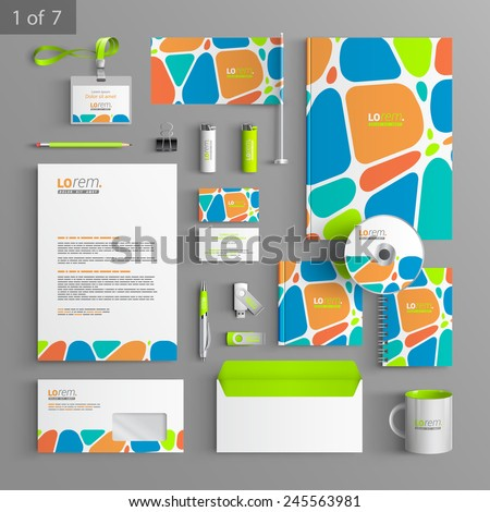 Creative corporate identity template design with color geometric elements. Business stationery - stock vector