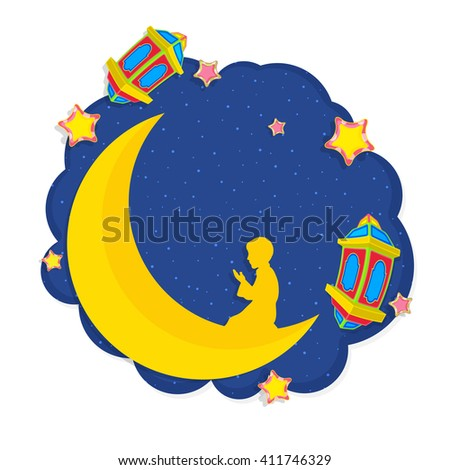 Creative 3D Moon with Praying Boy and other elements on stars decorated blue background, Concept for Islamic Festivals celebration.