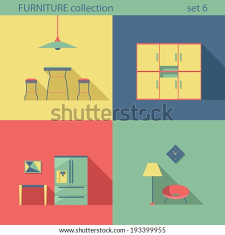 creative furniture icons set flat design. creative design furniture icons set interior long shadow style vector collection home flat l