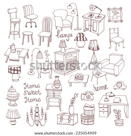 Creative design furniture set  - stock vector