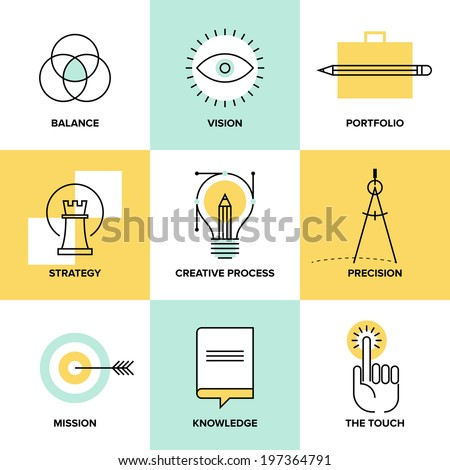 Creative design process concept with web studio development elements,?? business vision, marketing strategy, smart solution and success ideas. Flat line icons modern style vector illustration set. - stock vector